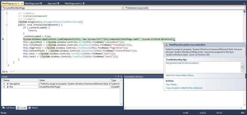 unhandled error in silverlight application async_exceptionoccurred