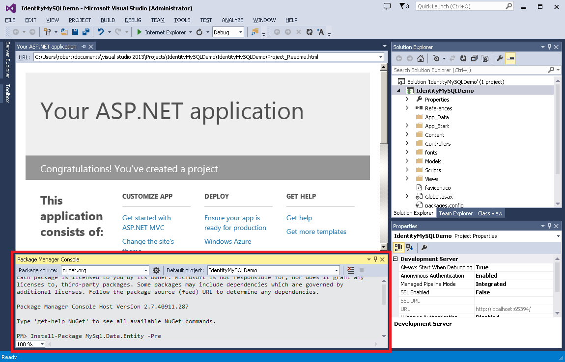 how to connect mysql database in c# web application