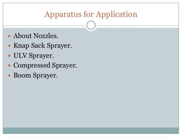 pesticide application equipment and techniques