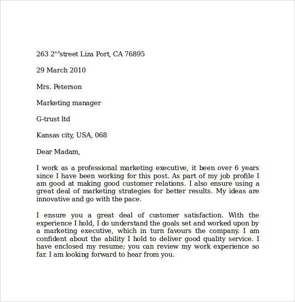 job application letter for the post of marketing manager
