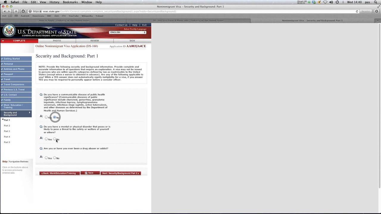 ds 160 us application form