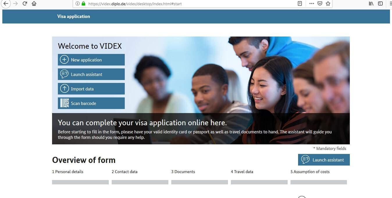 german embassy visa application form