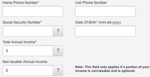 total annual income credit card application