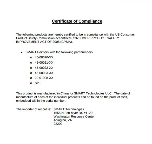 application for certificate of compliance