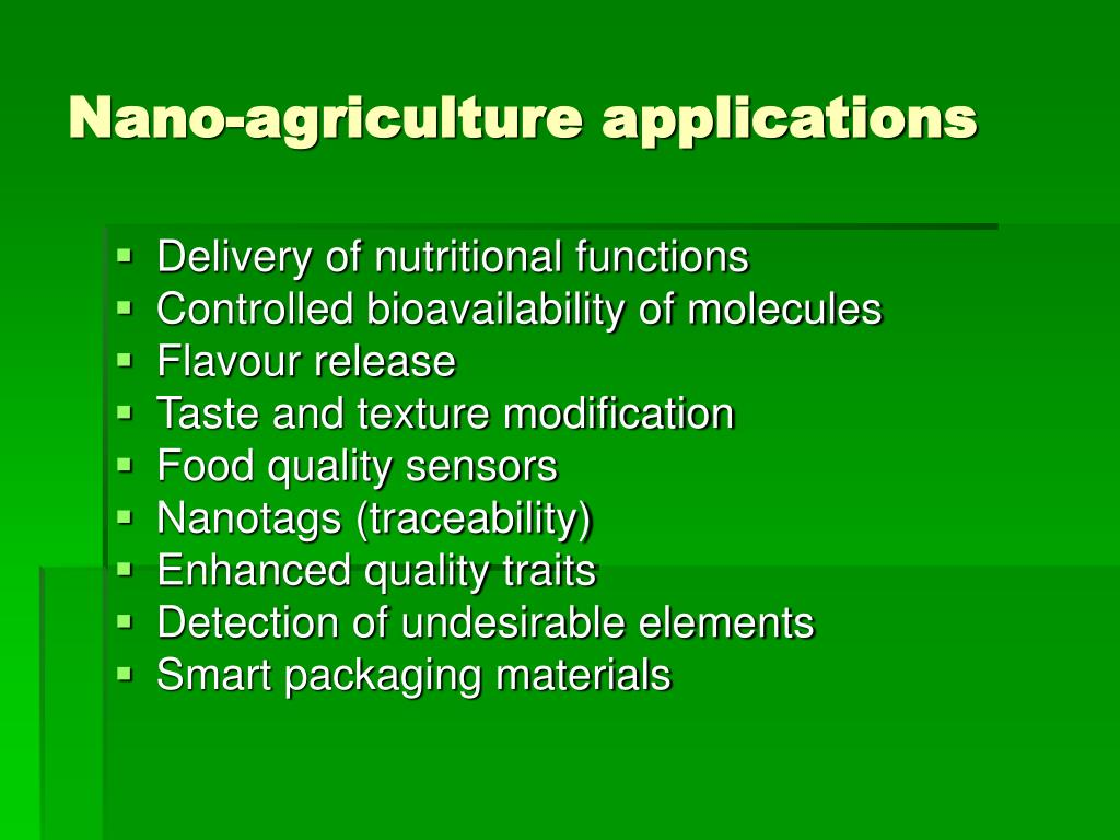 application of nanotechnology in agriculture ppt