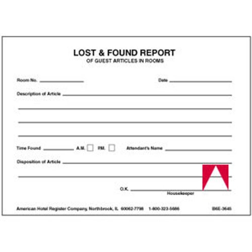 lost and found application format