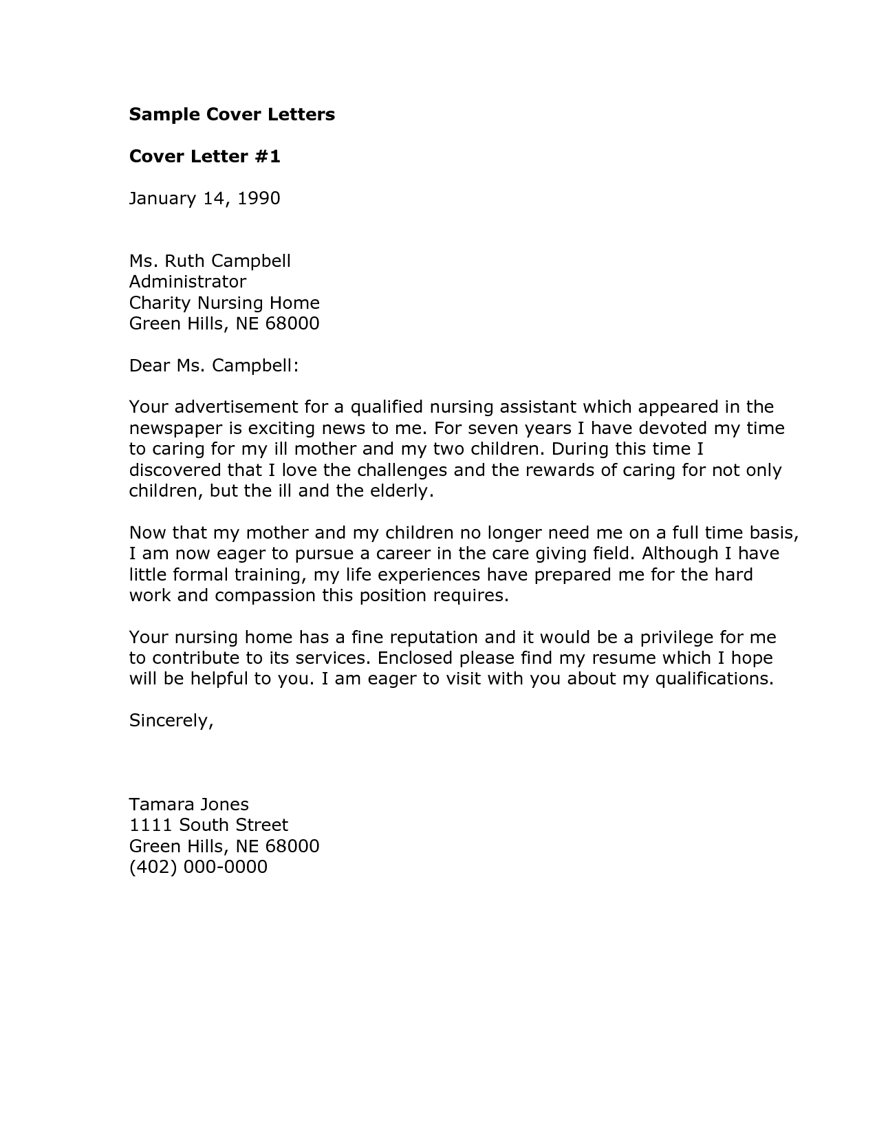 example of application letter for nurses