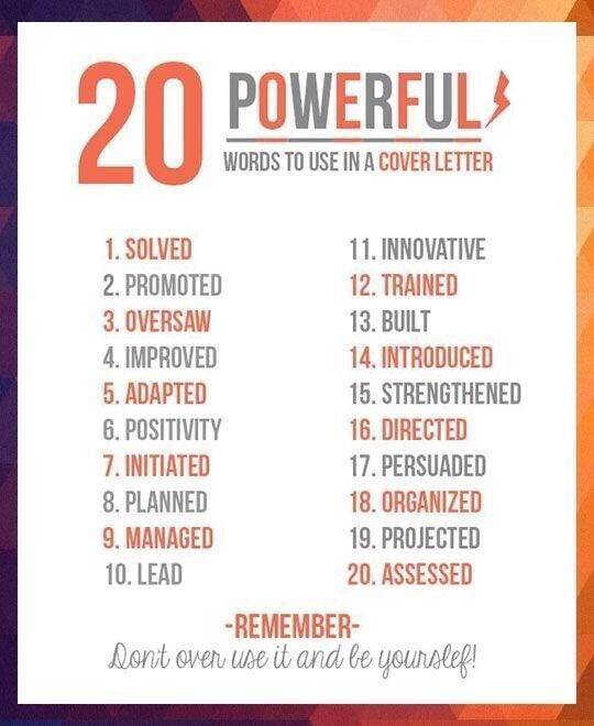 good words to use in a job application