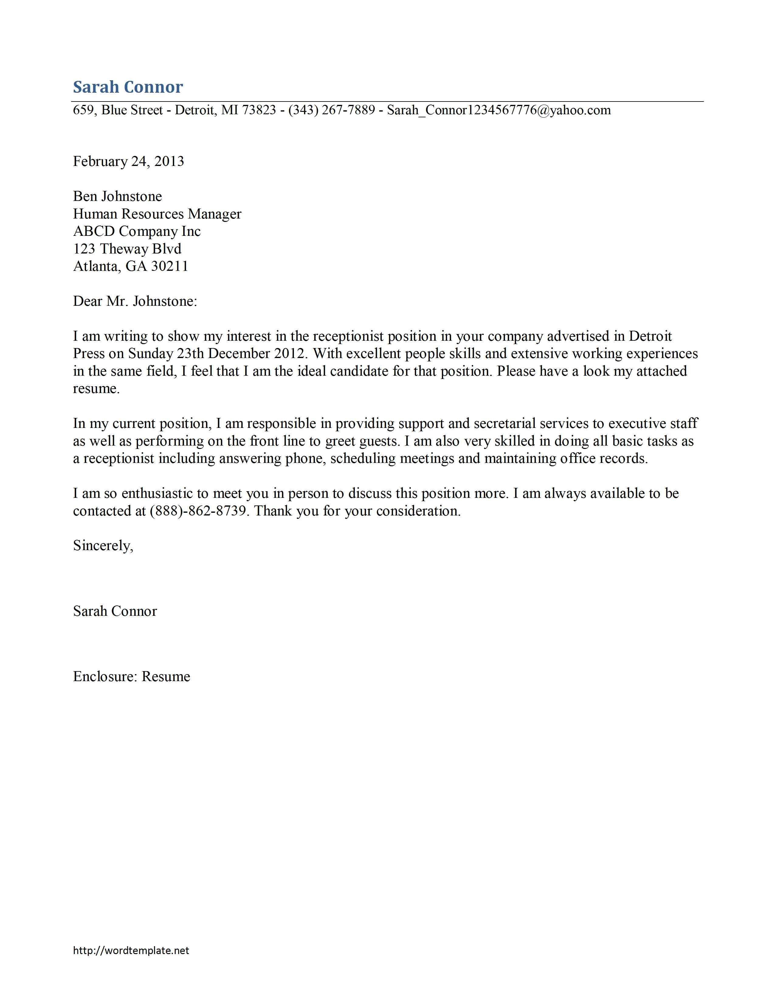job application cover letter example australia