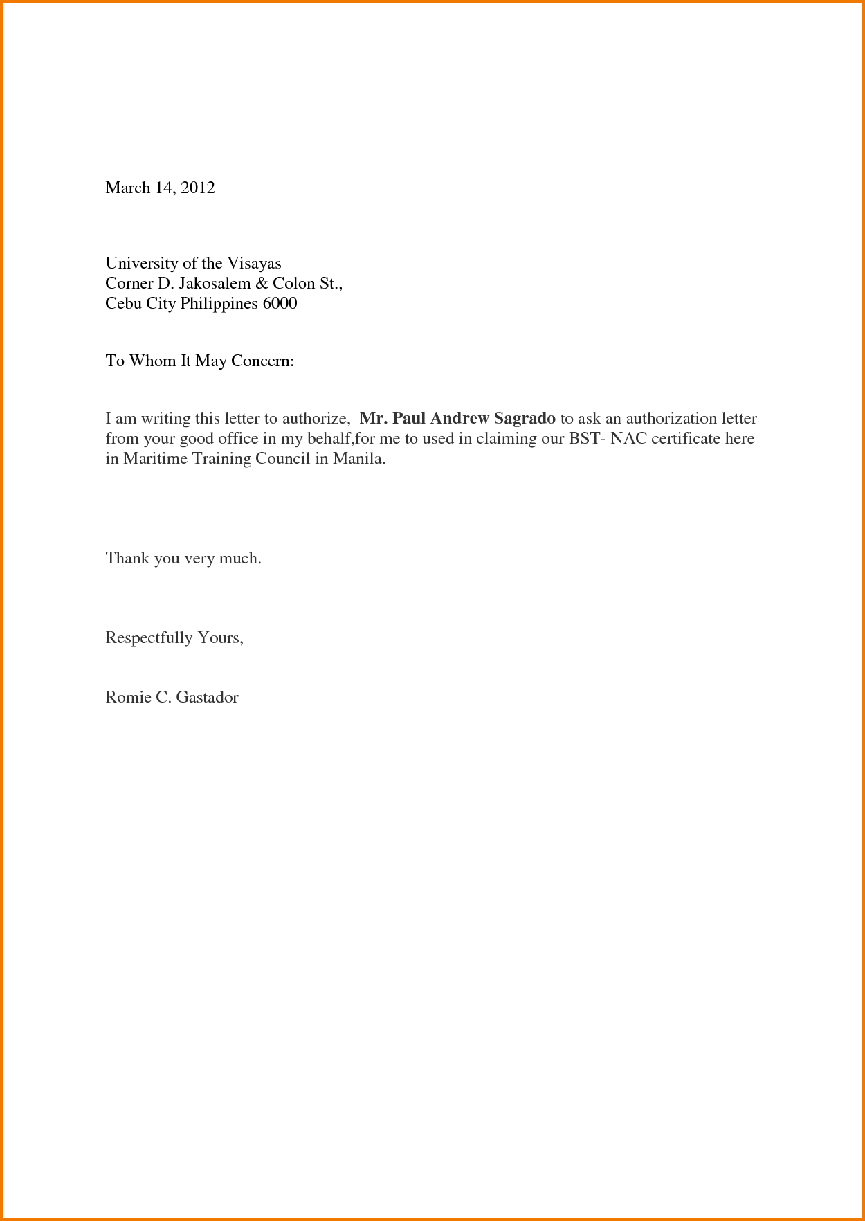 letter of authorization for collection on behalf of the applicant