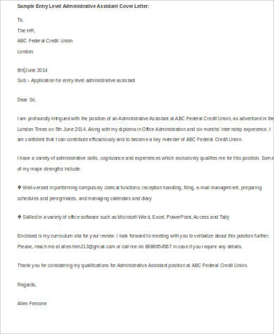 sample application letter for administrative officer